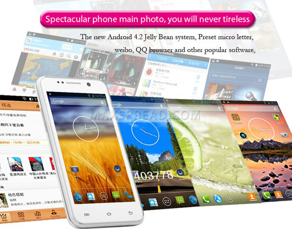 Hot Sales!! New THL W100 MTK6582M Quad Core 1.3GHz 4.5'' Screen 8.0MP Dual Camera Android Phone 4.2 Os W100s Add Gifts