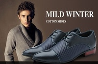New Fashion Casual Mens Pointed-Toe  Dot Lace-up Leather oxfords Shoes dropship