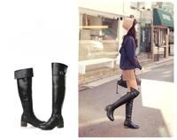 Женские ботинки 2013 new style winter PU leather Belt Buckle design slim legs Knight Boots Knee Boots 545