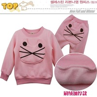 Комплект одежды для девочек 2013 baby girl cat long sleeve suit christmas t-shirt +pants 2pcs set girl pink and gray colors 3T-7T ITEM 6588