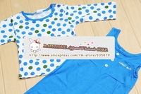 baby 2 pcs set polka dot long sleeve T-shirt+solid overalls/romper baby girls and boys' autumn garment