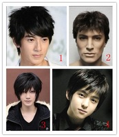 Free shipping modern man light brown synthetic short straight handsome wig  boy cool hairpiece cosplay party hair