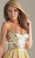 Коктейльное платье Fine A-line Sweetheart Sequin Bodice Tulle Short Gold Party Dress