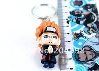 "Free shipping Anime Naruto 1.2"" PVC Toy Figure Key Chain  (6 pcs/set )"