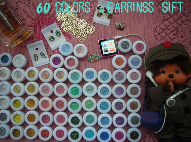 Wholesale 60 pcs 60 colors Eyeshadow Glitter Makeup Mineral Pigment eyeshadow powder  MAKEUP ARTIST(60pcs a lot)+gift