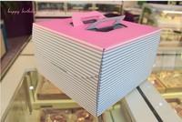 "Упаковочная коробка 50pcs/lot Fresh Pink And Blue Stripe 6"" Hand-held Cake Box/ Variety Size 6"" 8"" 10"" 12"" Option"