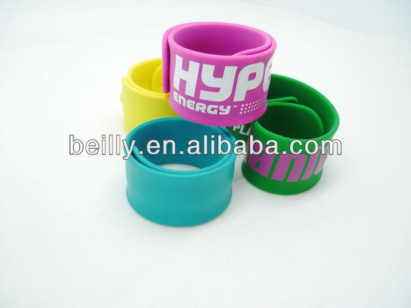 Promotion Custom Silicone Rubber Snap Slap Bracelet wrist Bands Slap for Boys and Girls