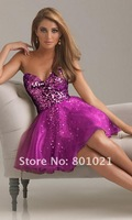 Fine A-line Sweetheart Sequin Bodice  Tulle Short Gold Party Dress