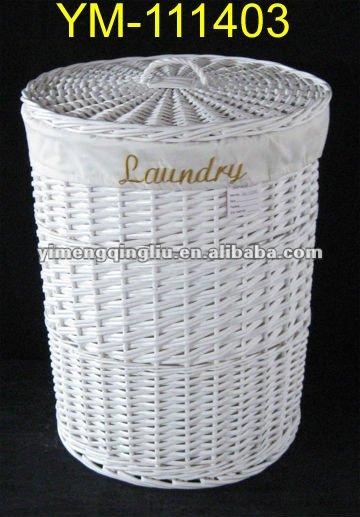 Grand blanc en osier panier linge sac panier linge - Panier a linge en osier naturel ...