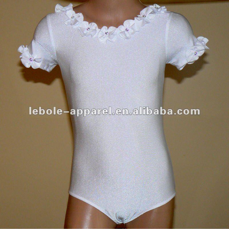 pretty ballet skating dress fabric for lovely children of short sleeve
