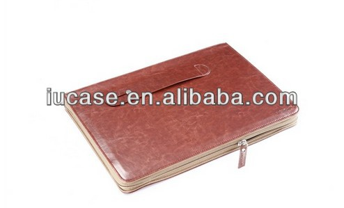 "Zipper PU laptop case with handle for macbook, PU leather case for 13"" laptop"