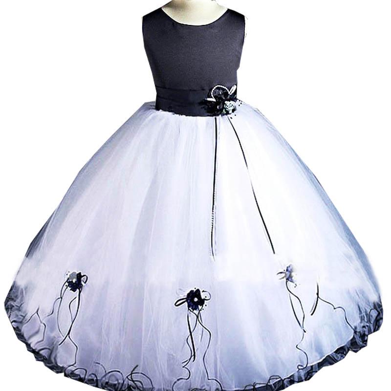 super oferta de color azul oscuro y blanco niña vestido de flores ...