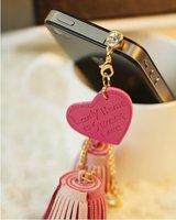 Min.order is $15 (mix order) The fashion love leather tassels metal dust plug hole T7301