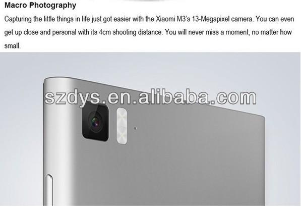 "Original Xiaomi Mi3 M3 SmartPhone Qualcomm 800 CPU 2.3GHz Quad Core Android Phone 5.0"" FHD 441PPI 13.0Mp Camera WCDMA/GSM"