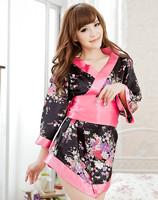 Сексуальная ночная сорочка Sexy Lingerie Kimono Dress Dress+G string+Band Set Sleepwear, Underwear, Uniform, Kimono Costume Size W1214