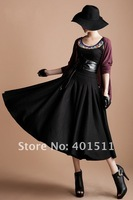 S0072 Free shipping 2012 new women's warm woolen long maxi skirt black color pleated skirt Size S-6XL