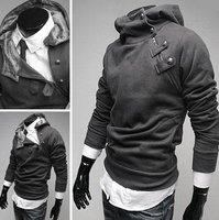 Мужская толстовка hotting stand-up collar pullover men's hoodies Inclined zipper warmer black sweatshirt Christmas Gifs drop shipping