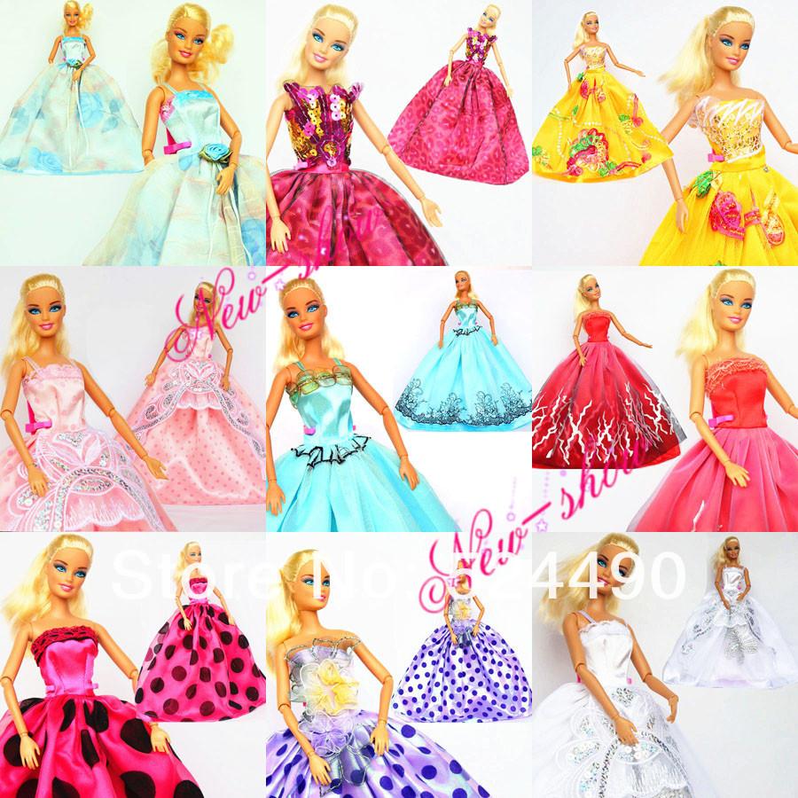 Nice high quality! 10 Pcs Attractive Handmade Robe Doll Costume Clothes Equipment Princess Skirt For Barbie Kurhn Doll Free Transport
