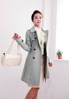Женский тренч Women's Trench Coat Fashion Solid Color Elegant Long Belt Double Breasted Buttons Plus Size XXXL WW1611