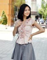 Женские блузки и Рубашки hot sale! fashion transparent chiffon Short sleeve Unique design blouse, Lotus leaf lace design, size/S, M, L, XL Y035S-W200
