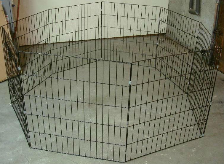 Dog Kennel/Heavy-9-gauge black, powder coated, welded tempered steel mesh