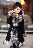 Женская одежда из кожи и замши Pig Leather with fox fur collar Long Coat/winter women's clothing/Hot Sale/ / Retail