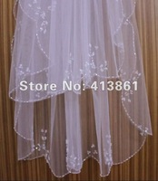 Свадебная фата White/ivory Elbow Beaded Edge pearl sequins Bridal Wedding Veil+comb