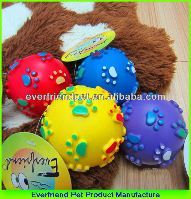 7.5cm Vinyl Paw Print Pet Ball Dog Toy