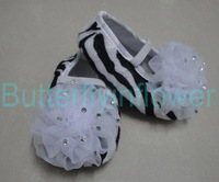 Детские чешки zebra cribe shoes for baby with puffs 3 size mulit colors 24pairs /lot