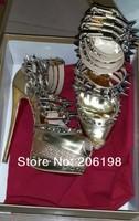 Туфли на высоком каблуке sandals gold studded platform high heel pumps women glitter mirror heels spikes diamond red bottoms shoes