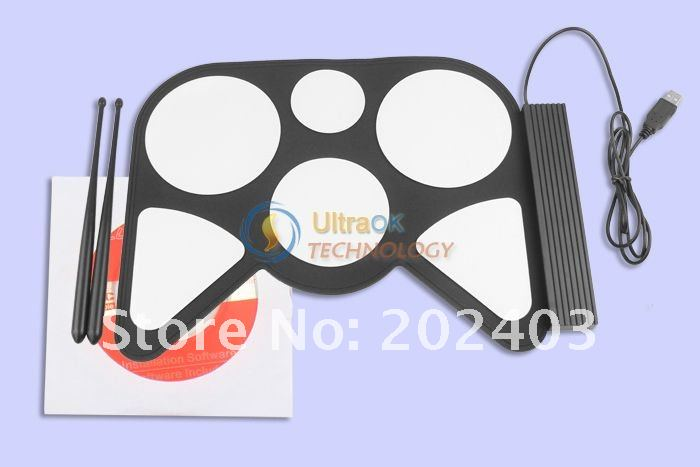 New USB 1.1 PC Roll Up Digital Electronic 6 Drum Pads Kit Set 256MB lightweight portable white&black