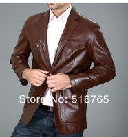 Мужские изделия из кожи и замши Hot! Spring men suit collar leather jacket, men autumn jacket, business casual coat, M-XXXL
