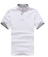 Мужская футболка 2012 Mandarin Collar Short T Shirt Men Polo Shirt V collar men's summer top green /black /white color
