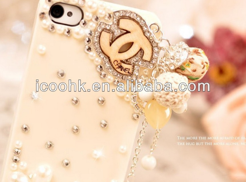 Fashion shape crystal diamond leather case for iphone 5 /5s