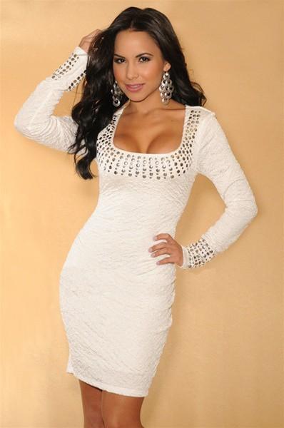 Promotion dress fashion 2014 White Pleated Studded Long Sleeves Dress autumn dress winter dress women winter dress SYY0351