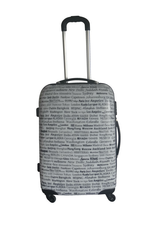 abs pc luggage travel bags 2013 Hot selling fashion ABS+PC film printing trolley luggage bag