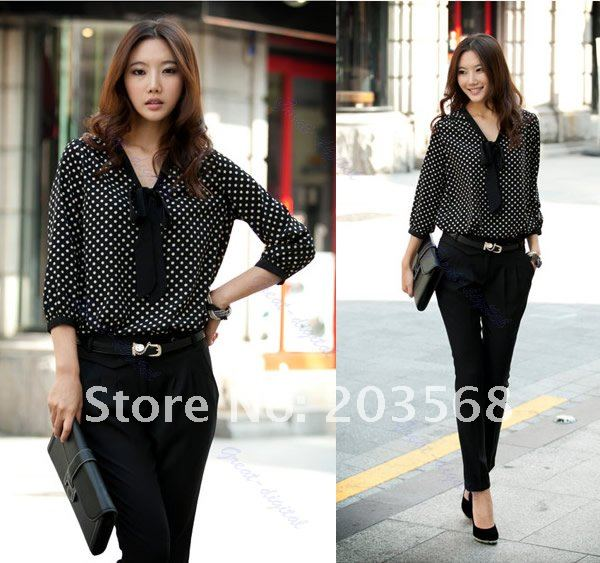 Free Shipping 2pcs/lot V Neck turn-up cuff thin Dot Casual Chiffon Shirt Top Long Sleeve Bowknot Blouse