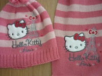 Детские Шарфы, Шапки, Перчатки Autum winter scarf and the cap hello kitty hats and caps knitting winter wtih Scarf set 2set/lot