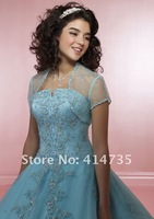 Q001 Modern Tulle Quinceanera Dresses with Jacket Appliques Beaded Ball Gown Ankle Length Custom Made