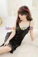Женские ночные сорочки и Рубашки Sexy Black Lingerie Sleepwear Dress+G-STRING Sexy one size Sleepwear, Underwear, Uniform, Kimono Costume