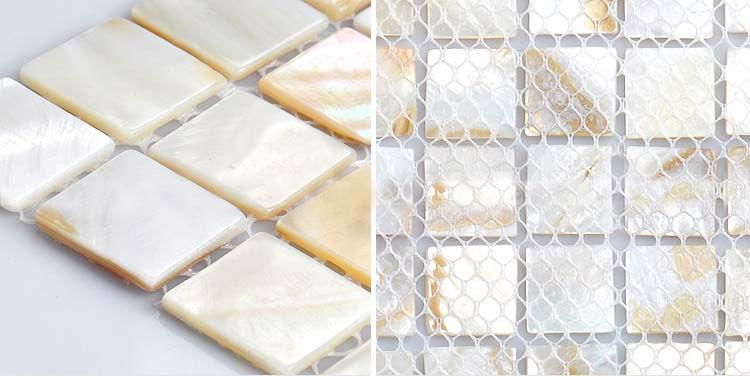 Mother of pearl mosaic tile backsplash