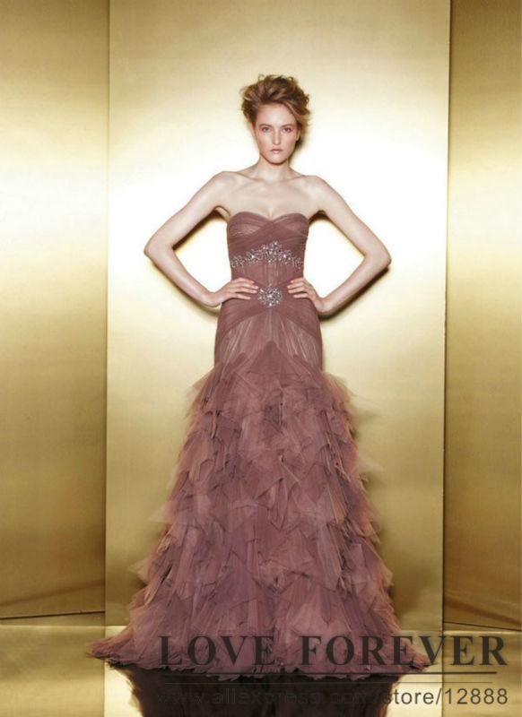 Light Rust Red Sweetheart Layered Ruffles Beaded Mermaid Floor Length Party Dresses Top Design