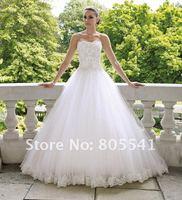 Свадебное платье 2012 Ball Gown Strapless Lace Applique Cheap White Wedding Dress MOCH-112215 ON SALE