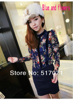 Long-sleeved shirt bottoming of new European and American retro flower hollow gold velvet stitching lace long-sleeved T-shirt