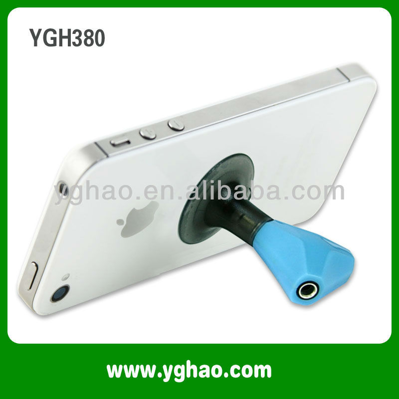 Music earphone Splitter with suction stand for mobile phone