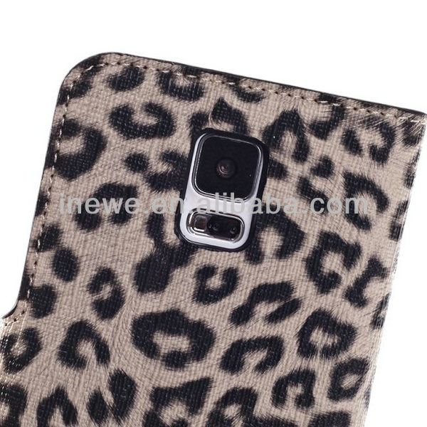 New for Samsung Galaxy S5 i9600 Leopard Grain Stand Wallet Case