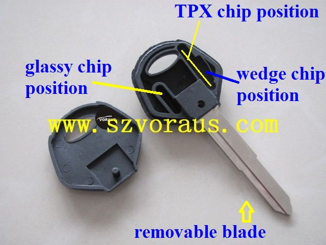 Ya motocycle key shell (YH35R blade)&Ya transponder chip key blank, with TPX chip position