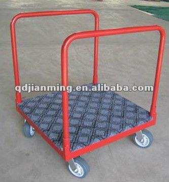 Push carts me<em></em>tal cart with wheels four wheel folding cart pallet trolley wheel dolly