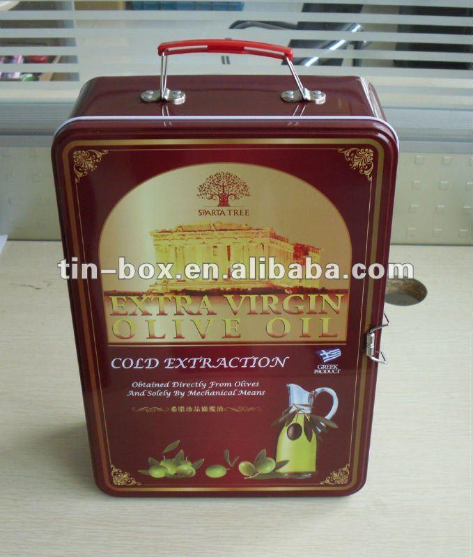 Olive oil handle tin box