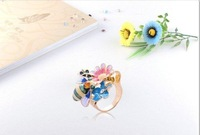 Кольцо cheap jewelry colorful flowers rhinestoone crystal diamond bee ring for woman MD charms